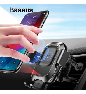 [ORIGINAL] BASEUS Wireless Charger Smart Vehicle Intelligent Automatic Sensor Air Vent Mount Mobile Car Phone Holder 2-in-1 Bracket Qi Fast Wireless Charge WXZN-01