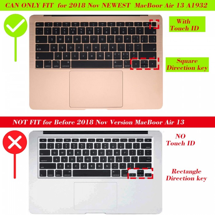 """Soft Silicone Keyboard Cover Skin for 2018 MacBook Air 13/"""" A1932 with Touch ID"""