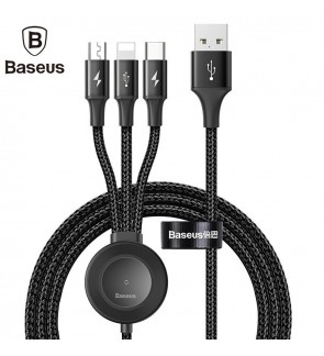 [ORIGINAL] BASEUS 4 in 1 Wireless Charger Magnetic for Apple Watch 1 2 3 4 Quick Charger USB Cable Lightning Type C Micro USB for iPhone X Xs USB Data Cable for Android Xiaomi Huawei 1.2 Meter