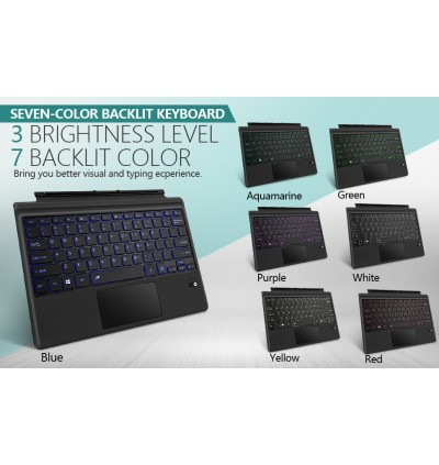 Surface Pro Ultra-Slim Wireless Bluetooth Keyboard for Microsoft Surface Pro 6 / Surface Pro 5 (Pro 2017) / Pro 4 / Pro 3 Type Cover with Trackpad / Touchpad Color with LED Backlit Light