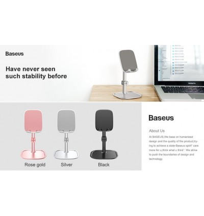 Baseus Literary Youth Universal Desktop Holder Aluminum Alloy for Tablet / Smartphone with Cable Organiser / Clip Stand Holder for iPhone Xiaomi Huawei Honor Samsung Oppo Vivo
