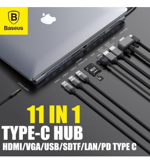 BASEUS 11 in 1 Type C USB-C USB 3.0 Notebook Hub Adapter With PD HDMI for Macbook Laptop VGA USB 3.0 RJ45 3.5MM Audio Jack USB Splitter Multi Ports