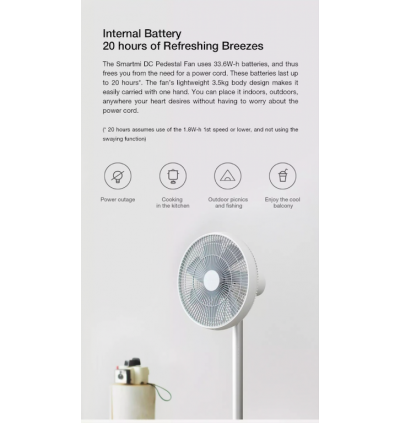 XIAOMI Smartmi Standing Fan 2S DC Pedestal Fan Portable with Rechargeable Battery Wireless with Mi Home APP Smart Control 220V