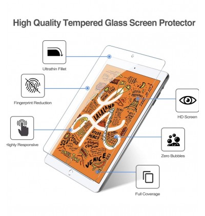Screen Protector for Apple iPad Mini 5 / 4, [Apple Pencil Compatible] [Work with Touch ID] [Scratch Resistant] [High Definition] Tempered Glass Screen Protector for iPad Mini 5 (2019) / iPad Mini 4