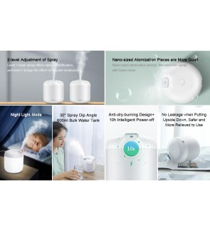 BASEUS Smart Humidifier 600ml 10 hours Smart Power Off Air Diffuser Purifier for Home Office