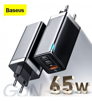 BASEUS 65W GaN Charger USB-C Quick Charge QC 4.0 PD 3.0 USB C Type C Fast USB Charger For Macbook iPhone Samsung