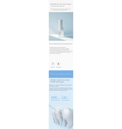 Xiaomi Mijia Oral Irrigator Dental Flosser Portable Water Jet Cleaning Tooth Toothpick Mouthpiece Denture Cleaner Teeth Brush 2200mAh USB Rechargeable 200ml Water Tank