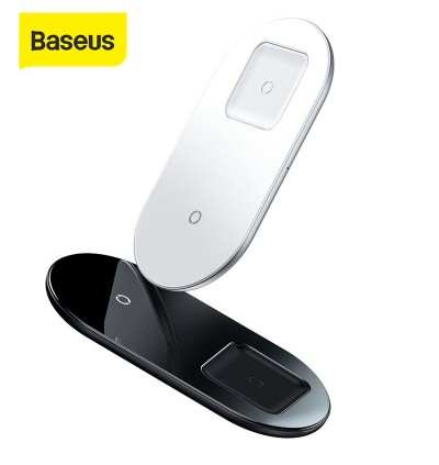 BASEUS 2-in-1 Wireless Charger Simple Pro Edition Dual Qi Wireless Charging Pad 15W for iPhone and AirPods Pro