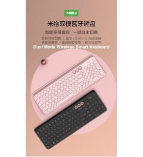 XIAOMI MIIIW Dual-Mode Wireless Bluetooth Keyboard Universal Keyboard (BT 4.0+2.4GHz USB) with 102-Key Round Keycaps Scissor Switch Integrated Holder Ergonomic Design for Windows Mac iOS Android [C190]